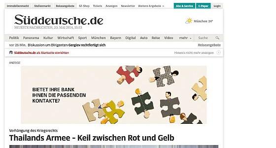 Süddeutsche Zeitung auf dem iPad am 20. Mai 2014